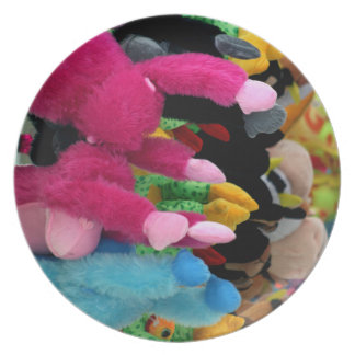 colorful stuffed animals abstract at fair midway plate