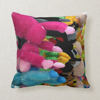 colorful stuffed animals abstract at fair midway throw pillow