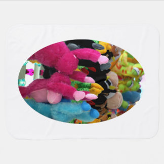 colorful stuffed animals abstract at fair midway swaddle blankets