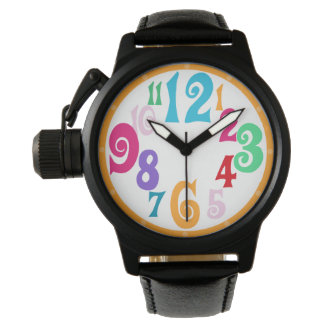 Colorful Stylish Yellow Trim Watch Face Numbers