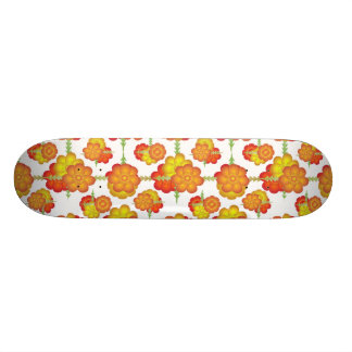 Colorful Stylized Floral Pattern Skateboard