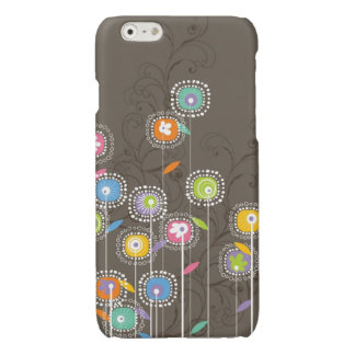 Colorful Stylized Retro Flowers Brown Background Glossy iPhone 6 Case