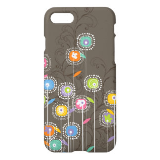 Colorful Stylized Retro Flowers Brown Background iPhone 7 Case