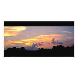 Colorful Suburban Sunset Photo Greeting Card