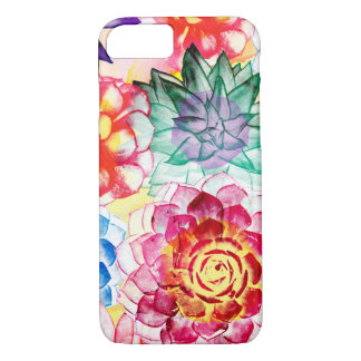 Colorful Succulent Plants Artsy Watercolor iPhone 8/7 Case