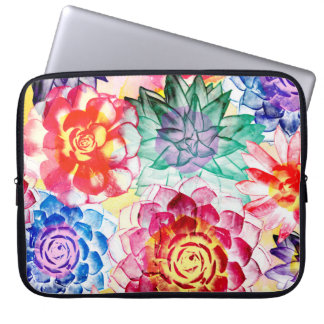 Colorful Succulent Plants Beautiful Watercolor Computer Sleeve
