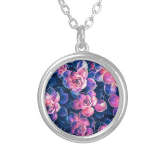 Colorful Succulent Plants Silver Plated Necklace