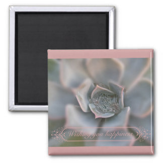 Colorful Succulent Wishing You Happiness Items 2 Inch Square Magnet