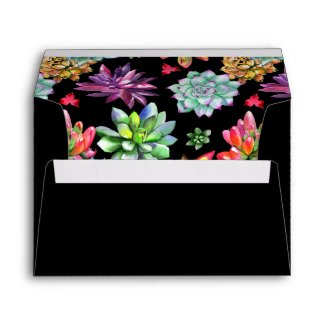 Colorful Succulents Black Envelope