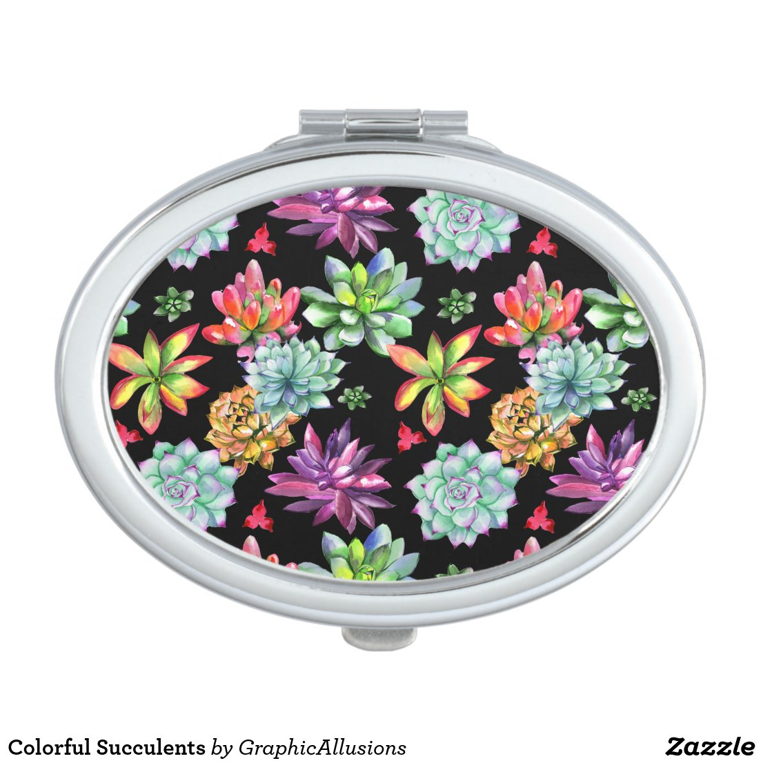 Colorful Succulents Compact Mirror