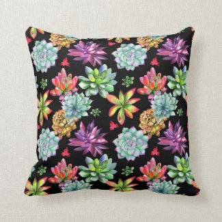 Colorful Succulents Throw Pillow