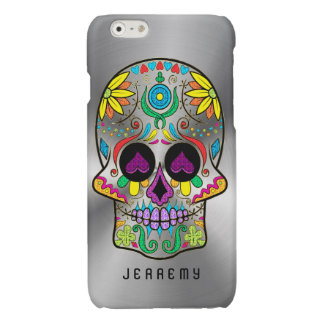 Colorful Sugar Skull 2 Metallic Silver Background Glossy iPhone 6 Case