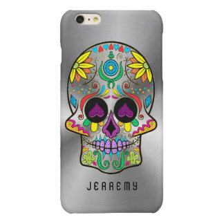 Colorful Sugar Skull 2 Metallic Silver Background Glossy iPhone 6 Plus Case