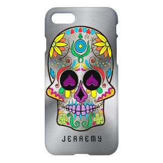 Colorful Sugar Skull 2 Metallic Silver Background iPhone 7 Case