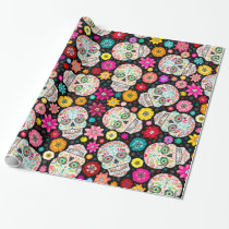 Colorful Sugar Skull and Flower Fiesta Black Wrap Wrapping Paper