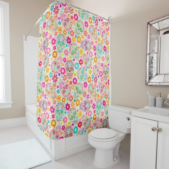 Colorful Sugar Skull And Flower Fiesta Shower Curtain