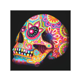 Colorful Sugar Skull Art Stretched Canvas Print