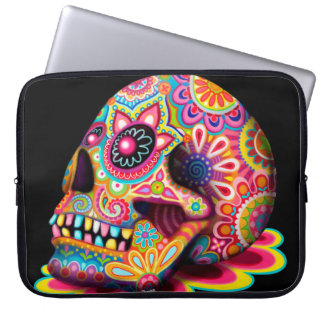 Colorful Sugar Skull Art Laptop Sleeve
