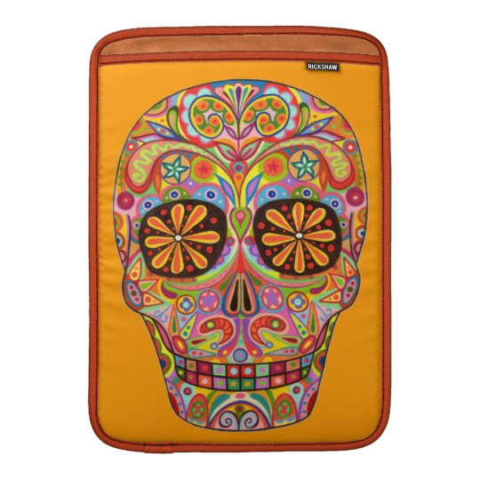 Colorful Sugar Skull Art Macbook Air Sleeve