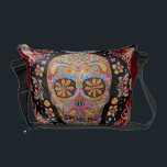 "Colorful Sugar Skull Art Messenger Bag<br><div class=""desc"">This Colorful Sugar Skull Art Messenger Bag features a smmiling psychedelic calavera celebrating Mexico&#39;s Day of the Dead,  or Dia de los Muertos. The funky design for this Colorful Sugar Skull Messenger Bag is based on the artwork of Thaneeya McArdle.</div>"