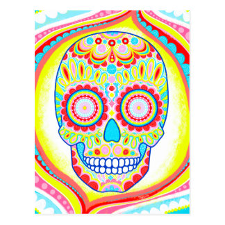 Colorful Sugar Skull Art Postcard -Day of the Dead