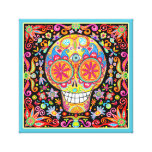 Colorful Sugar Skull Art Stretched Canvas Prints