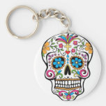Colorful Sugar Skull Basic Round Button Keychain