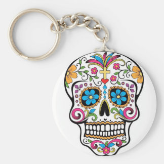 Colorful Sugar Skull Basic Round Button Keychain