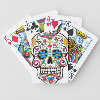 Colorful Sugar Skull Bicycle Playing Cards