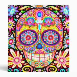 Colorful Sugar Skull Binder - Day of the Dead Art