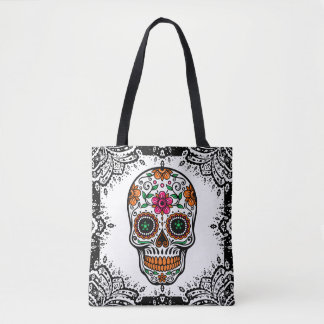 Colorful Sugar Skull Black Paisley Frame Tote Bag