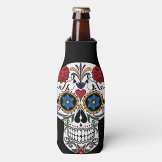 Colorful Sugar Skull Bottle Cooler