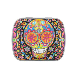 Colorful Sugar Skull Candy Tin - Day of the Dead