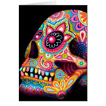 Colorful Sugar Skull Card - Day of the Dead Art
