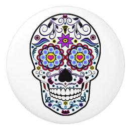 Colorful Sugar Skull Ceramic Knob
