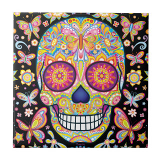Colorful Sugar Skull Ceramic Tile