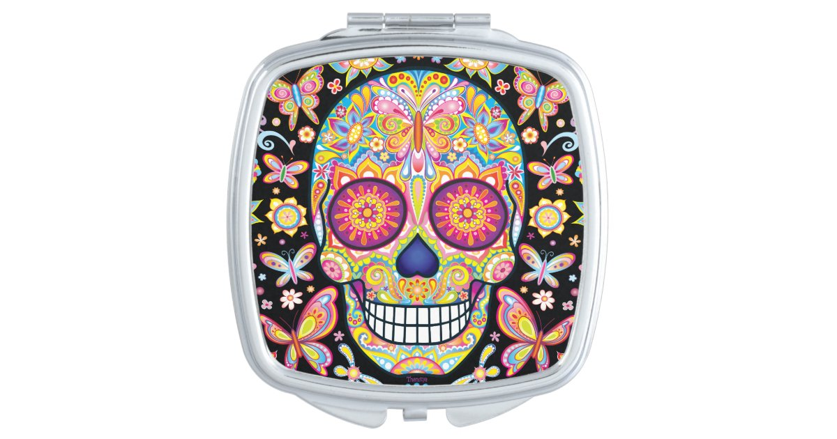 Colorful Sugar Skull Compact Mirror, Sugar Skull Compact Mirror