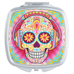 Colorful Sugar Skull Compact Mirror