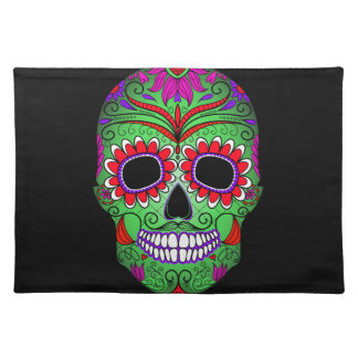Colorful Sugar Skull Day of the Dead Placemat