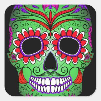 Colorful Sugar Skull Day of the Dead Square Sticker