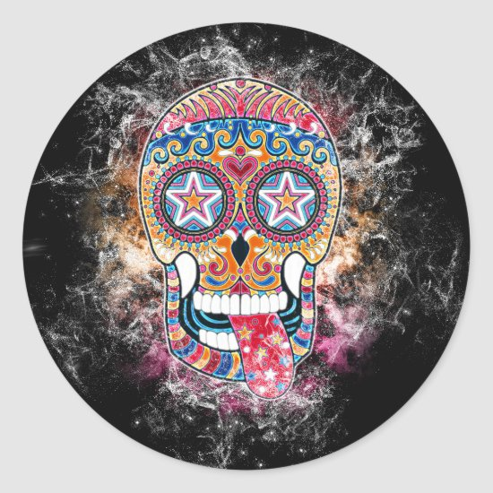 Colorful Sugar Skull, Day of the Dead Sticker
