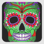 Colorful Sugar Skull Day of the Dead Stickers