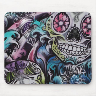 Colorful sugar skull dia de los muertos artwork mouse pad