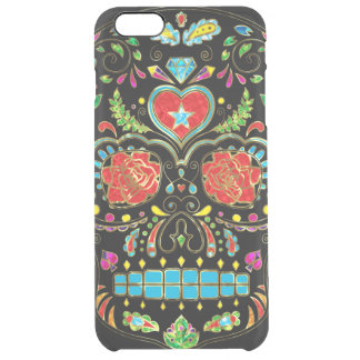 Colorful Sugar Skull Glitter And Gold 2 Clear iPhone 6 Plus Case
