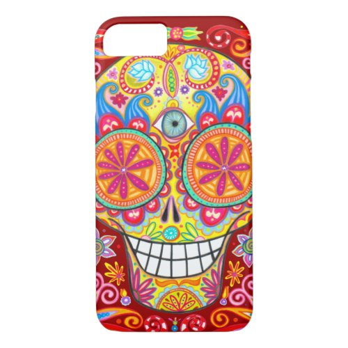 Colorful Sugar Skull iPhone 7 case by Phone Case