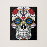 """Colorful Sugar Skull Jigsaw Puzzle<br><div class=""""desc"""">Colorful Sugar Skull Jigsaw Puzzle. Turn designs,  photos,  and text into a great game with customizable puzzles. Made of sturdy cardboard and mounted on chipboard,  these puzzles are printed in vivid and full color. For hours of puzzle enjoyment,  give a custom puzzle as a gift today.</div>"""