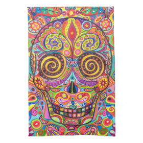 Colorful Sugar Skull Kitchen Towel