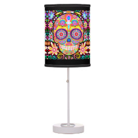 Colorful Sugar Skull Lamp - Day of the Dead Art