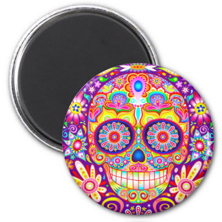 Colorful Sugar Skull Magnet - Day of the Dead Art