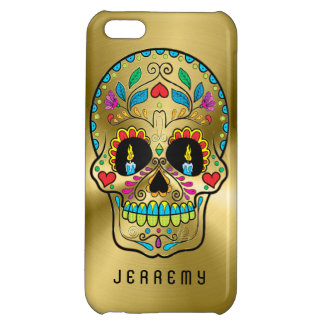 Colorful Sugar Skull Metallic Gold Background 2 iPhone 5C Covers